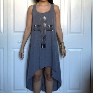 High Low Dress with Cross Studs